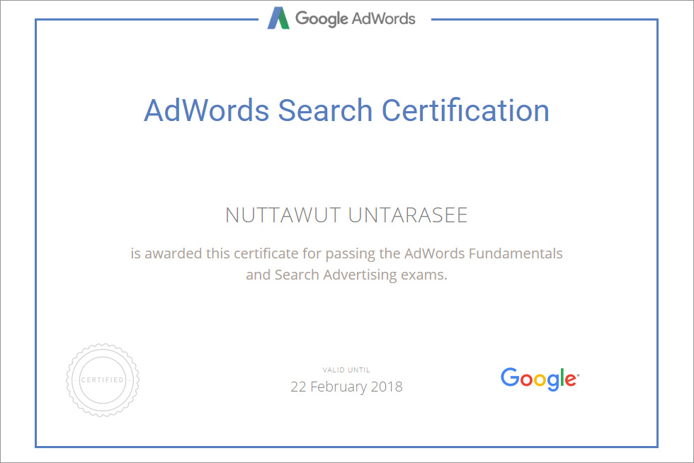 Adwords Search Certification for QuinL (Thailand) Co., Ltd.