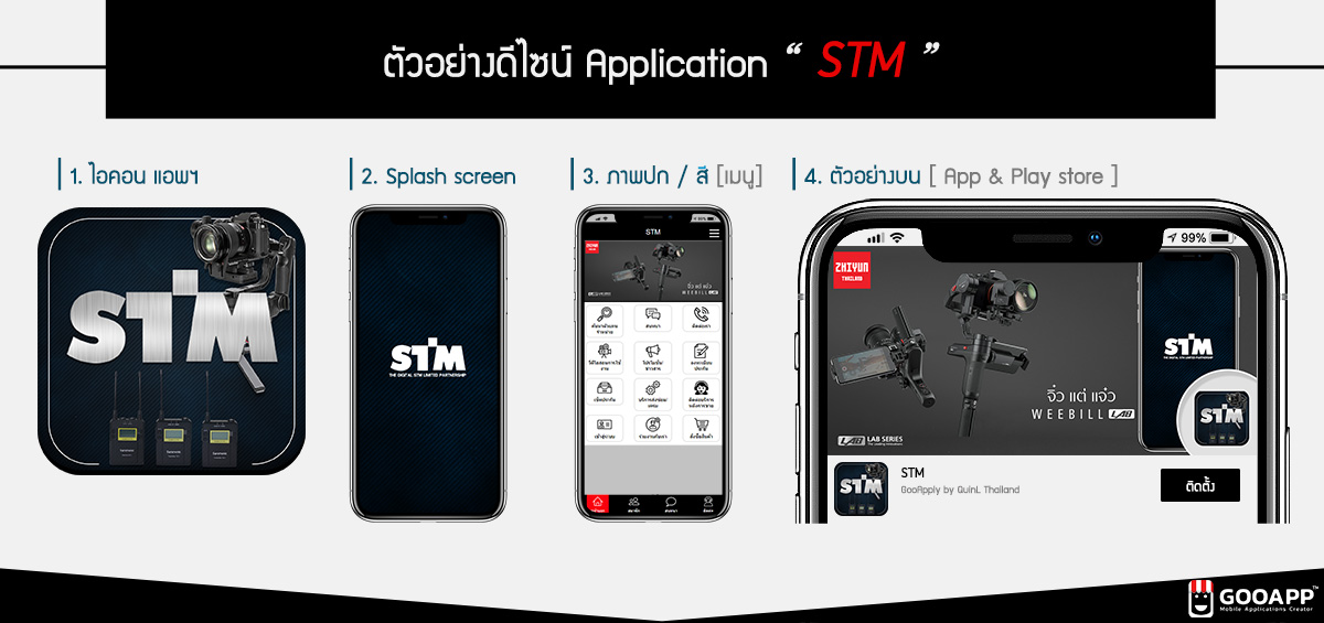 ตัวอย่างโมบายแอพพลิเคชั่น STM อุปกรณ์อิเล็กทรอนิกส์