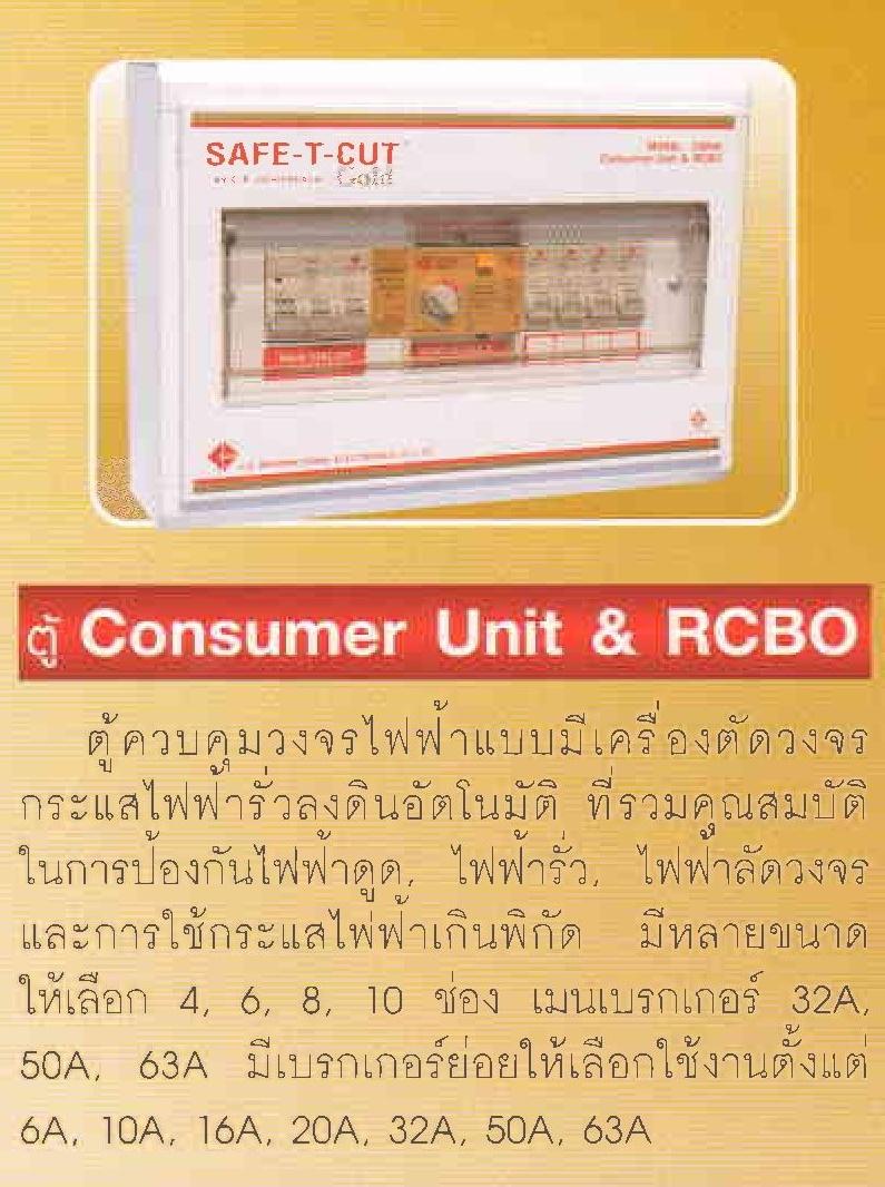 ตู้ควบคุมวงจรไฟฟ้า CONSUMER UNIT RCBO