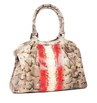 กระเป๋าถือ สีน้ำตาลคาดขาวแดง