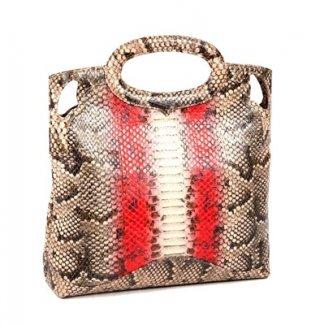 กระเป๋าถือ สีน้ำตาลคาดแดง