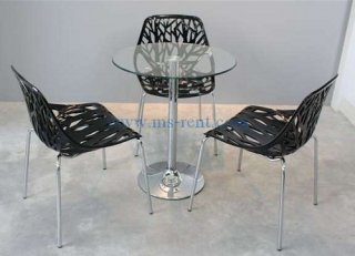 ชุดโต๊ะ Honey เก้าอี้ใบไม้สีดำ