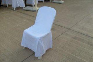 เช่าเก้าอี้พลาสติกคลุมผ้าสีขาว