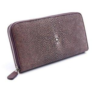กระเป๋าเงินหนังสำน้ำตาลแดงมีซิป