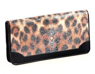 leather purse with leopard design