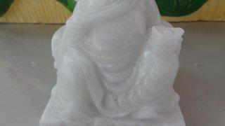 แป๊ะกง หินอ่อนสีขาว ขนาด กว้าง 12 สูง 15 เซนติเมตร