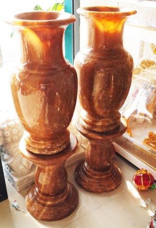 แจกันหินอ่อนหยกน้ำผึ้ง สูง 60 ซม.