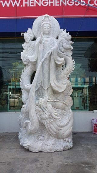 เจ้าแม่กวนอิมเยียบมังกร หินอ่อนแกะสลัก ขนาด สูง 350 ซม.