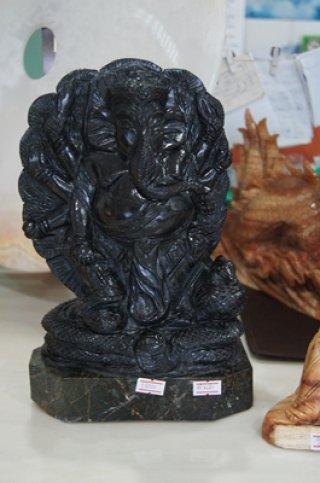 พระพิฆเนศ หินหยกดำพม่า ขนาดสุง 9 ซม. กว้างหน้าตัก 6 นิ้ว