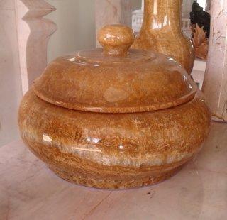 ผอบหินอ่อนหยกน้ำผึ้ง สูง 25 ซม.