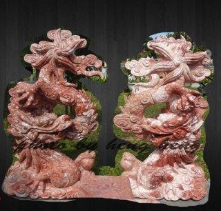 มังกรคู่สู้สิบทิศ หินอ่อนสีแดงแกะสลัก สูง 100 ซม.