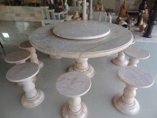 โต๊ะหินอ่อนขนาด 140 ซม. + เก้าอี้ 8 ตัว