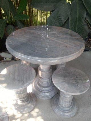 โต๊ะหินอ่อนขนาด 80 ซม. + เก้าอี้ 4 ตัว