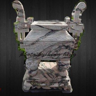 กระถางธูปหินอ่อนทรงจีนสี่เหลี่ยม สูง 100 ซม.