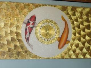 ภาพปลาคาร์ฟคู่เงินทอง พื้นขาว