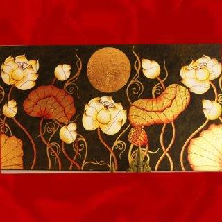 ภาพดอกบัวพื้นดำ งานปิดทองคำแท้