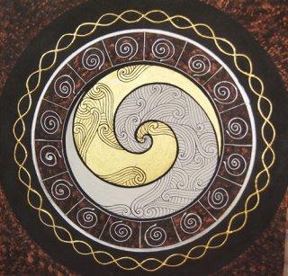 ภาพหยินหยาง 12 นักษัตร แปะทองคำแท้