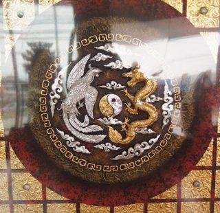 ภาพวาดหงส์คู่มังกร ติดทองคำเปลว