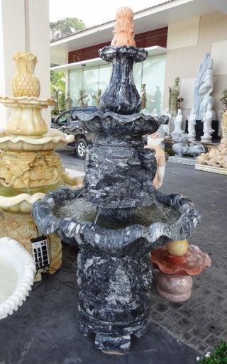 น้ำตกหินอ่อนสีดำ อ่าง 3 ชั้น สูง 160 ซม.