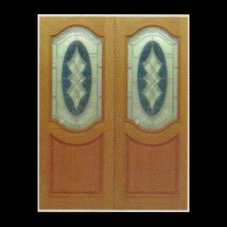 บานไม้สักคู่+กระจกนิรภัย