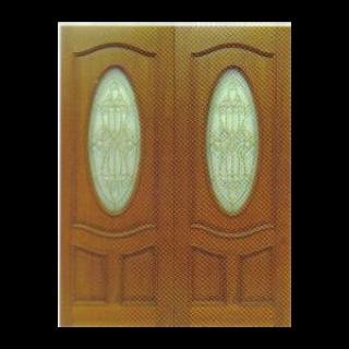 บานไม้สักลายตามแบบ+กระจกนิรภัย
