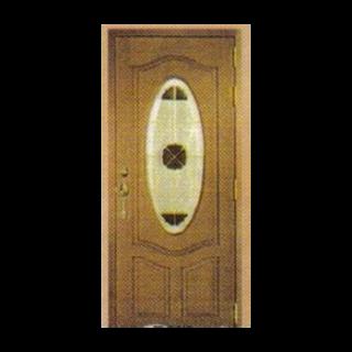 บานไม้สัก+กระจกนิรภัยวงรี