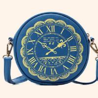กระเป๋าสะพายทรงกลมสีน้ำเงิน พิมพ์ลายนาฬิกา