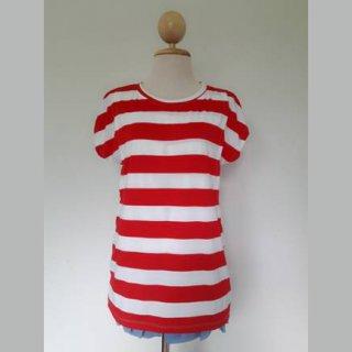 เสื้อให้นมแขนในตัว ลายขวางสีขาว-แดง