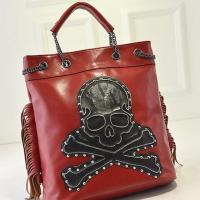 กระเป๋าแฟชั่นสีแดงรูปหัวกะโหลกแต่งหมุด