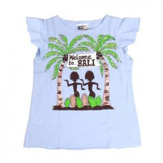 เสื้อยืดเด็กสีฟ้าพิมพ์ลายเกาะบาหลี