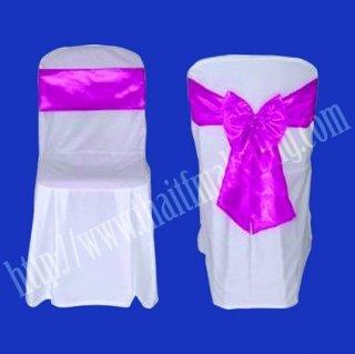 ผ้าคลุมเก้าอี้พลาสติกโบว์สีชมพูแก่