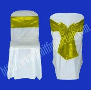 ผ้าคลุมเก้าอี้พลาสติกโบว์สีเหลือง