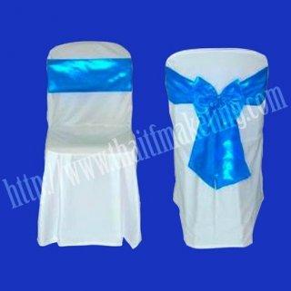 ผ้าคลุมเก้าอี้พลาสติกโบว์สีฟ้า