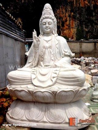 เจ้าแม่กวนอิมหินหยกขาว ปางนั่งบนฐานดอกบัว 2.80m