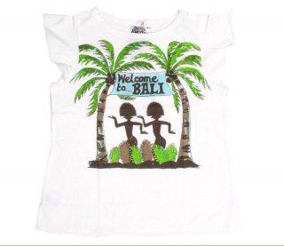 เสื้อยืดเด็ก ไซส์ 2-4 ปี สีขาวพิมพ์ลายเกาะบาหลี