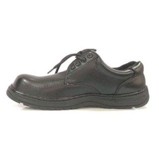 รองเท้าเซฟตี้หนังพีวีซี ผูกเชือกดำ