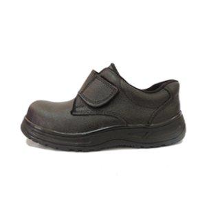 รองเท้าเซฟตี้หนังวัวแท้ สีดำ เมจิกเทป