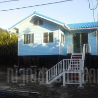 บ้านน็อคดาวน์ หลังคาทรงจั่ว ขนาด 4x6 เมตร สีฟ้า