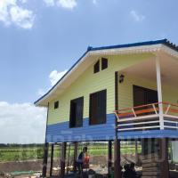 บ้านน็อคดาวน์ หลังคาทรงจั่ว ขนาด 4x6 เมตร สีน้ำเงินเขียว