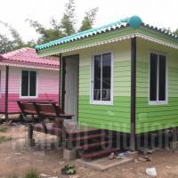 บ้านน็อคดาวน์ หลังคาทรงปั้นหยา ขนาด 3x4 เมตร สีเขียว