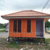 บ้านน็อคดาวน์ หลังคาทรงปั้นหยา ขนาด 3x4 เมตร สีส้ม