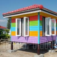บ้านน็อคดาวน์ หลังคาทรงปั้นหยา ขนาด 3x4 เมตร  สลับสี