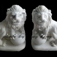 สิงโตหินอ่อนแกะสลัก สูง 80 เซนติเมตร