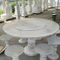 โต๊ะหินอ่อนทรงกลม ขนาด 130x80 ซม. สีหยกขาว