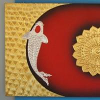 ภาพปลาคราฟ คู่เงินทอง พื้นดำแดง