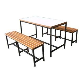 โต๊ะโรงอาหารโฟเมก้า เก้าอี้ไม้ระแนง