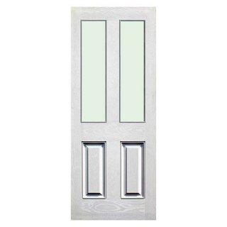 ประตูบ้านไฟเบอร์กลาส บานกระจกนิรภัย