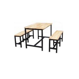 โต๊ะโรงอาหารไม้ระแนง ขาเหล็กพ่นดำ 1.2 นิ้ว