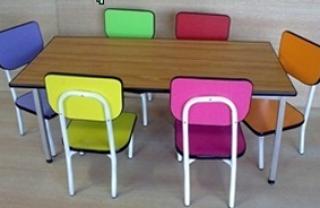 โต๊ะอนุบาลแฟนซีคละสี เก้าอี้เดี่ยว