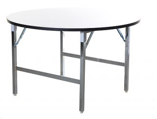 โต๊ะพับกลมหน้าฟอเมก้าขาวมัน 19 มม. ขาเหล็ก